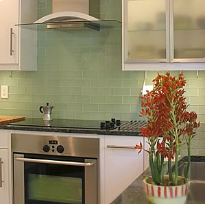 Pale, surf colored grass subway tile... that's pretty 'now' isn't it?