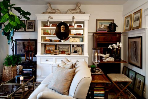 It helps to have great antiques - many of the prints were pulled from old books and put in inexpensive frames. My favorite trick...
